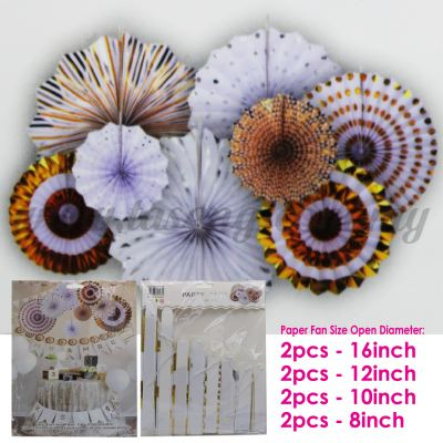 Paper Fan * Gold & White - 8pcs (PD-PF-80168)