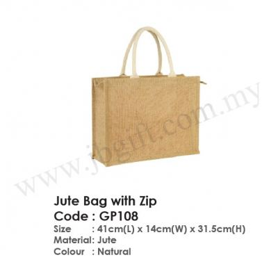 Jute Bag with Zip GP108