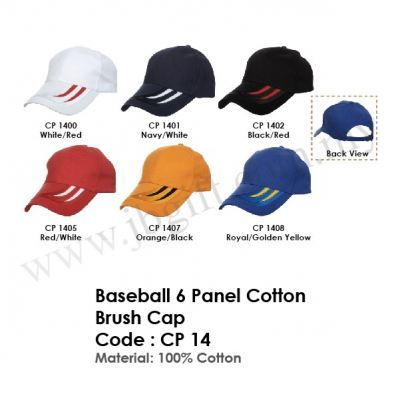 Baseball 6 Panel Cotton Brush Cap CP 14