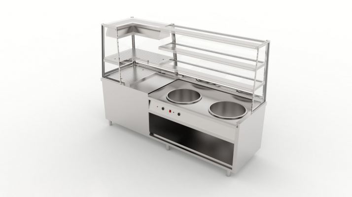 Two Pot Display Bain Marie with Warmer Counter