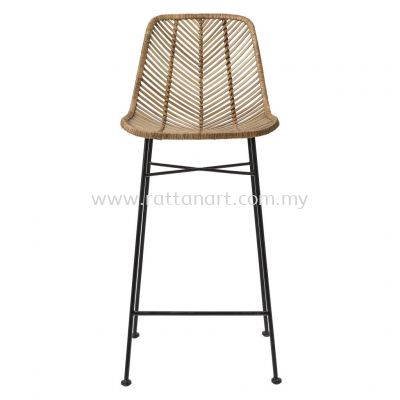 RATTAN + METAL BAR STOOL V WEAVE