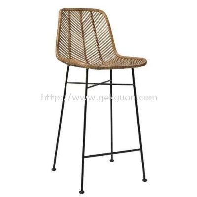 RBS 009 - RATTAN + STEEL BAR STOOL