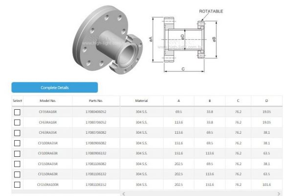 CF Reducing Adaptor(Small Flange Rotatable)