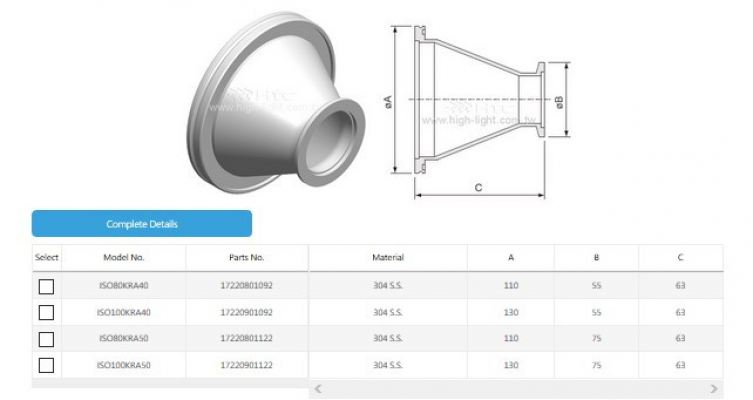 ISO-KF Conical Reducing Adaptor Fitting