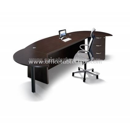 QX EXECUTVE TABLE WITH SIDE CONNECTION & FIXED PEDESTAL