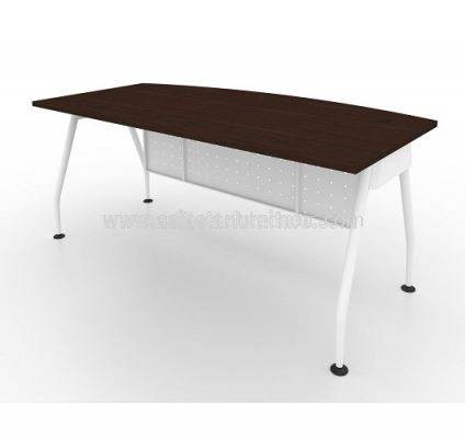 EXECUTIVE TABLE METAL A-LEG C/W STEEL MODESTY PANEL MAME 1890 WALNUT