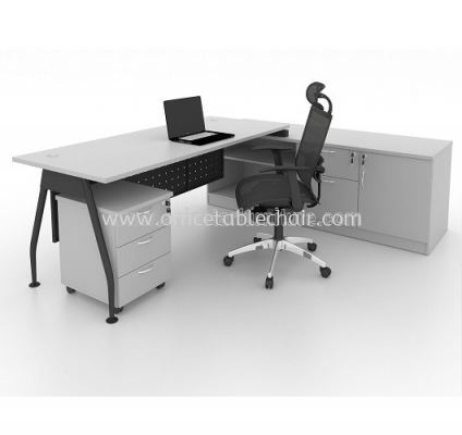 EXECUTIVE TABLE METAL A-LEG C/W STEEL MODESTY PANEL WITH SIDE CABINET & MOBILE PEDESTAL 3D MA 99 GREY