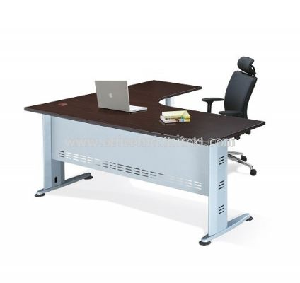 AJM-1815M L-SHAPE TABLE WITH POLE BASE-FRONT