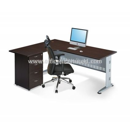 AJD-1815D L-SHAPE TABLE WITH FIXED PEDESTAL