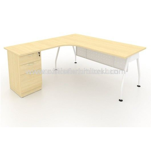 MAMD 8656 L-SHAPE TABLE WITH FIXED DRAWER - MAPLE