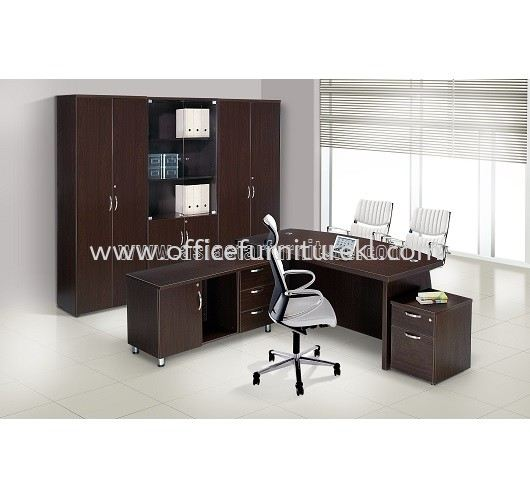 QAMAR EXECUTIVE DIRECTOR OFFICE TABLE SET WITH SIDE DRAWER, MOBILE PEDESTAL 1D1F & HIGH CABINET SET AQX 1800 SET 2