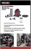 22.5L Wet Dry Vacuum with Blower WD0655 Heavy Duty Wet and Dry Vacuum Cleaner RIDGID Industrial Vacuum