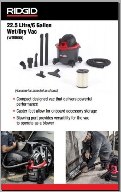 22.5L Wet Dry Vacuum with Blower WD0655