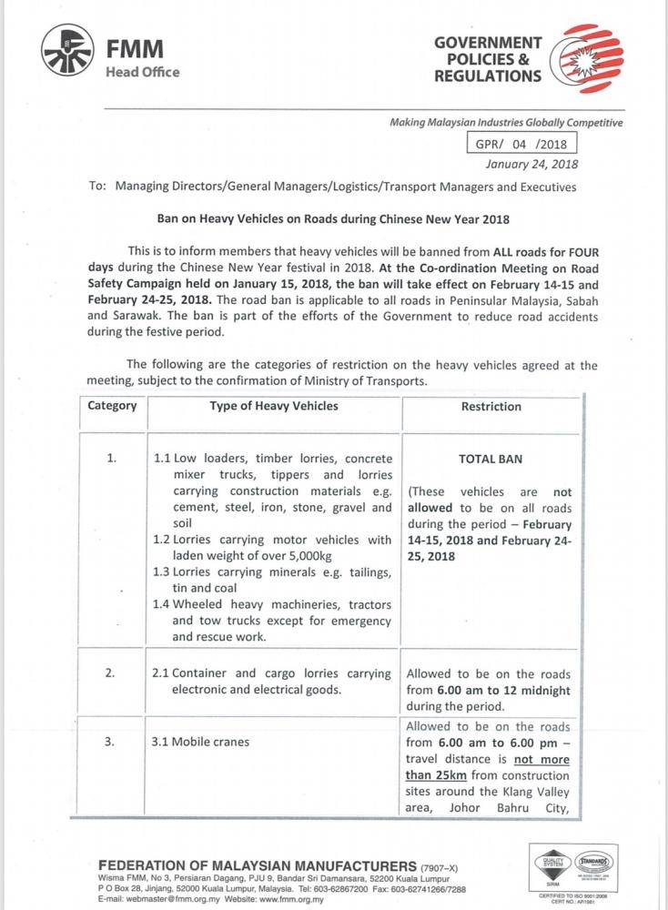 CNY Road Ban 2018
