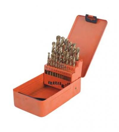 25 pcs HSS Ti Coated Stub Drills Set (S133013)