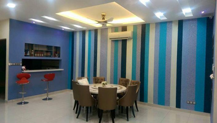 Living Hall with Wall Decoration Cotton Wall