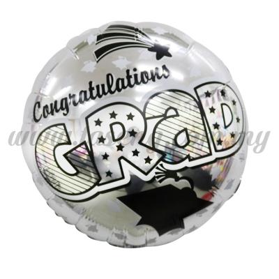 Round Foil Balloon *Congrats Grad - Silver (FB-QX702S)