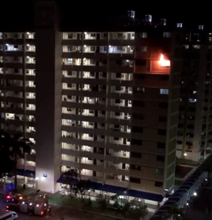 Blk 704 West Coast Road caught fire