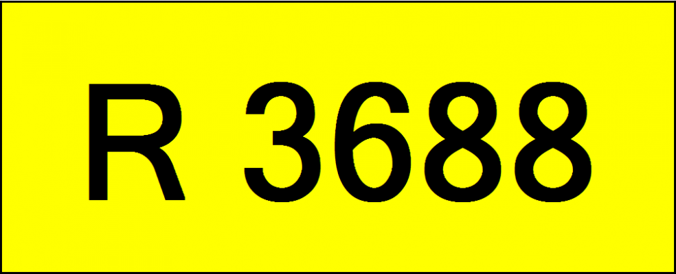 Rare Classic Number Plate (R3688)