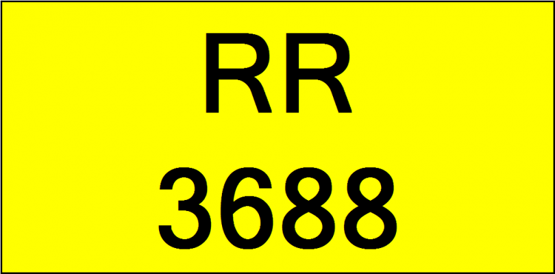 Superb Classic Number Plate (RR3688)