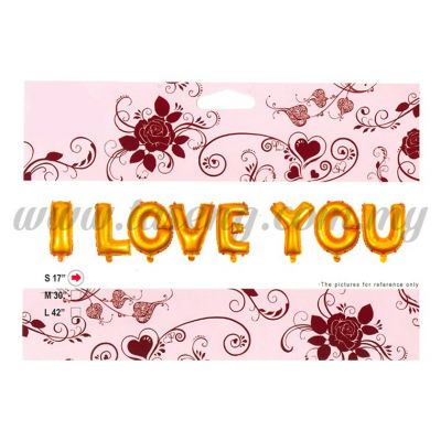 17inch I Love You Foil Balloon Set *Gold (FB-WD-S1702G)