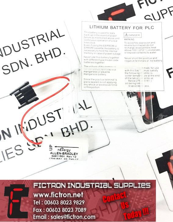 1756-BA1 AB Allen Bradley BULLETIN Battery Assembly Lithion Ion Back-up Battery Supply Malaysia Singapore Thailand Indonesia ALLEN BRADLEY Batteries