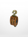 RE03) Wooden Block with Hook Fitting (Double Sheave) Rigging Equipment Marine & Offshore