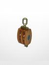 RE04) Wooden Block with Shivel Oval Eye (Double Sheave) Rigging Equipment Marine & Offshore