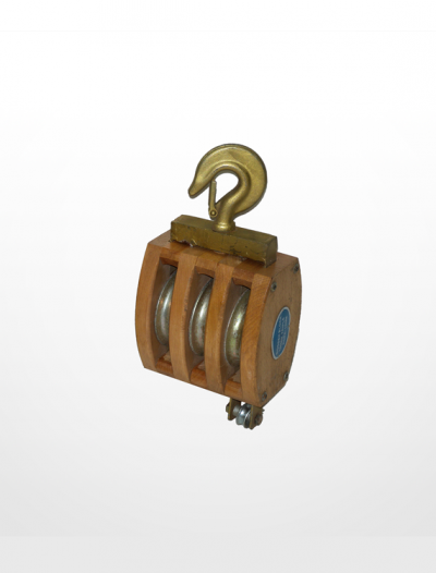 RE05) Wooden Block with Hook Fitting (Triple Sheave)