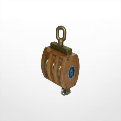 RE06) Wooden Block with Shivel Oval Eye (Triple Sheave)