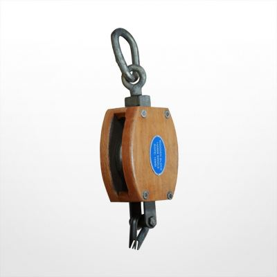 RE07) Wooden Block with Link (Single Sheave)