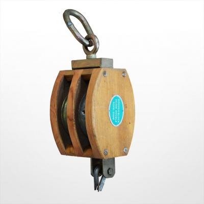 RE08) Wooden Block with Link (Double Sheave)