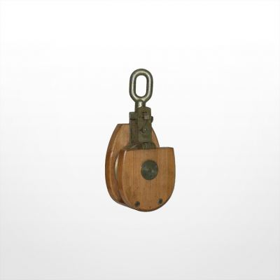 RE12) Wooden Snatch Block with Shivel Eye