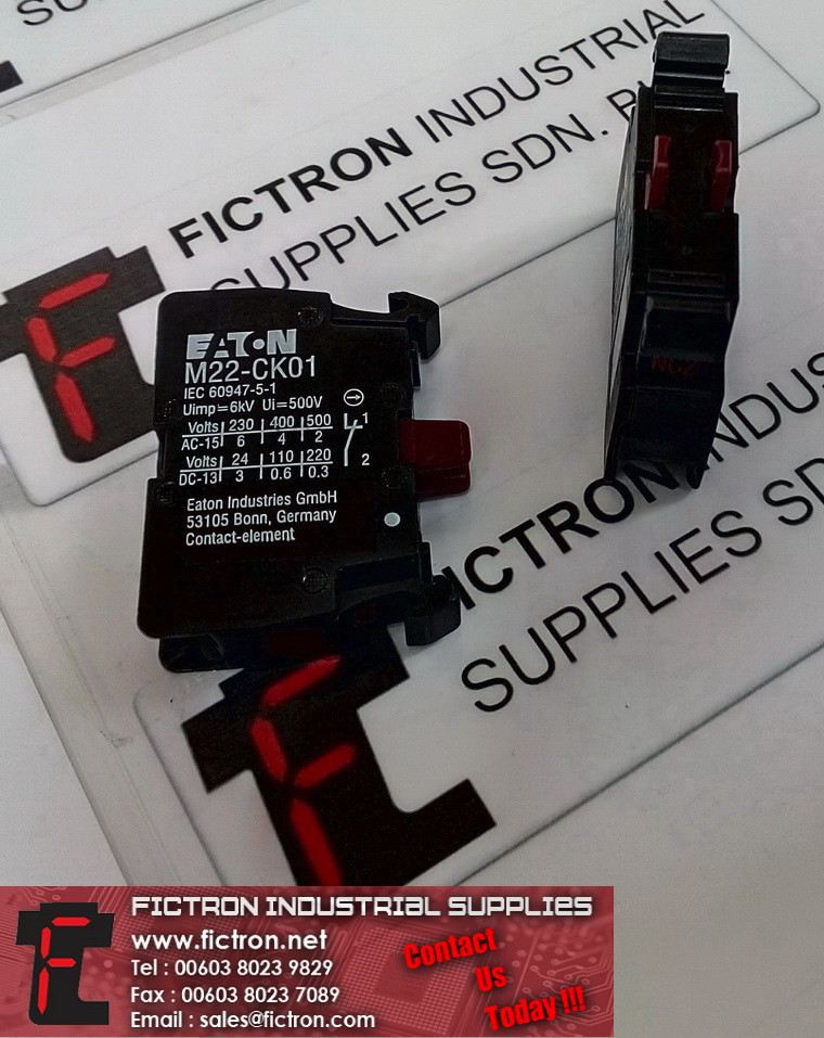 M22-CK01 M22CK01 EATON 6kV Ui500V Auxiliary Contact Supply Fictron Industrial Supplies EATON Contactor/Relay/Circuit Breaker/Switch
