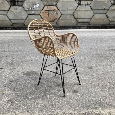 RATTAN + METAL DINING CHAIR HUG