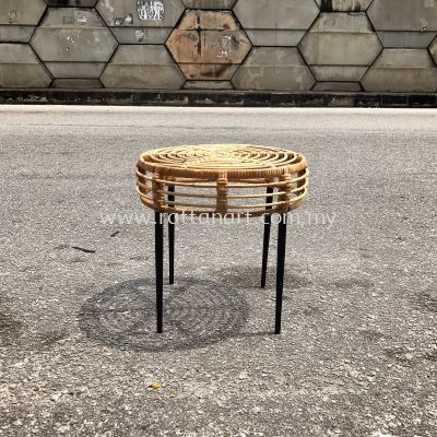 RATTAN + METAL SIDE TABLE LOLLIPOP