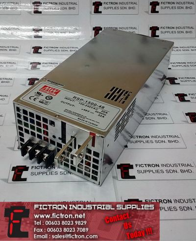 RSP-1500-48 RSP150048 100-240VAC 20A 48VDC 32A MEANWELL Power Supply Unit Supply & Repair By Fictron Industrial Supplies