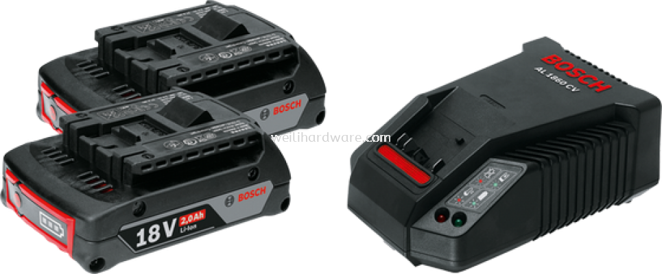 BOSCH STARTER KIT 18V 2.0AH (2 BATTERY 1 CHARGER)