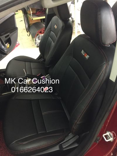 PROTON INSPIRA SEMI LEATHER BLACK RED LINE SEAT COVER, 1 YEARS WARRANTY