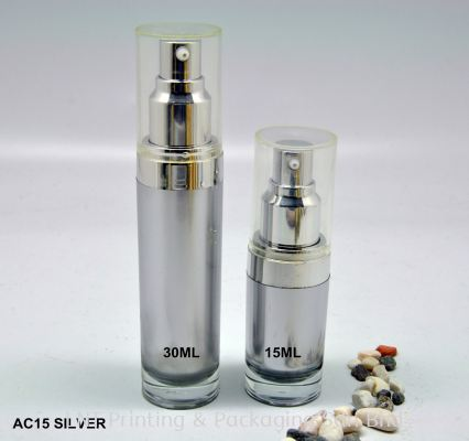 AC15 SILVER ACRYLIC BOTTLE WITH SILVER LOTION PUMP
