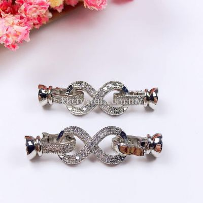 "Clasp ""8"" Style, Code A79384, White Gold Plated, 2pcs/pkt"