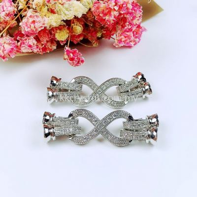 "Clasp Big ""8"" Style, Code 0283035, White Gold Plated, 2pcs/pkt"