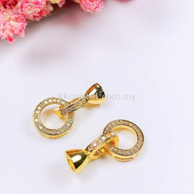 Clasp, Code 0283029 Round, Gold Plated, 2pcs/pkt