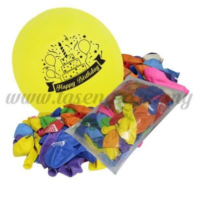 12inch Happy Birthday 1 Side Printed Balloons 50pcs (B-SM12-HB50)