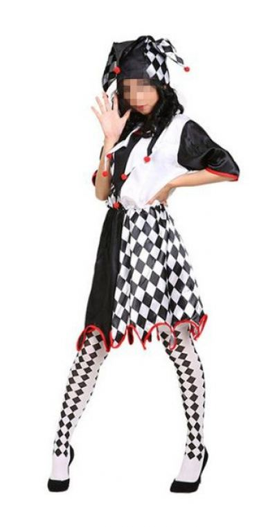 Clown Costume \ Lady \ Rhombus Pattern Black and White