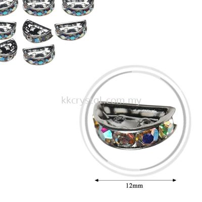 Fashion Rhinestone Diverter, S2910 Silver Crystal AB 12mm, 10pcs/pkt (BUY 1 GET 1 FREE)