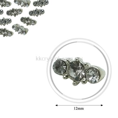 Fashion Rhinestone Diverter, S1020 Silver Crystal 12mm, 20pcs/pkt (BUY 1 GET 1 FREE)