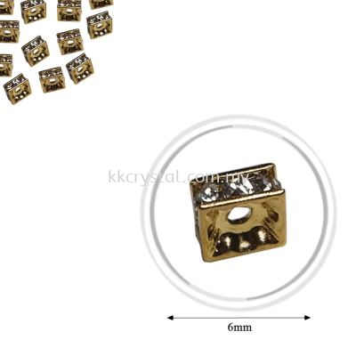 Fashion Rhinestone Diverter, S2220 Gold Crystal 6mm, 20pcs/pkt (BUY 1 GET 1 FREE)