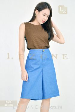 374078 DENIM HALF CULOTTES