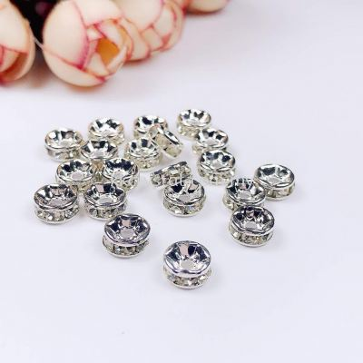 Seperator Rondelle, 7mm, Silver Plating, 20pcs/pkt